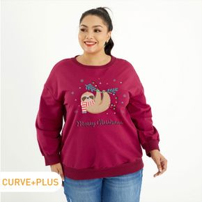 Plus Graphic Round Neck Long-sleeve Pullover For women