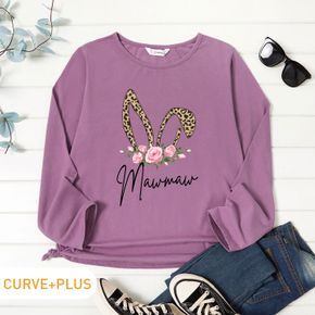 Woman Plus Size Rose and Letter Print Round Neck Long-sleeve Tee