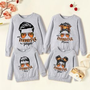 Thanksgiving Character Print 100% Cotton Family Matching Long-sleeve Tops