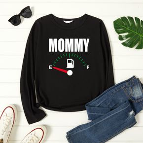 woman Letter Print Long-sleeve Round-collar Tee