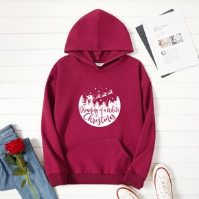 Christmas Woman Graphic Letter Print  Long-sleeve Hooded Pullover