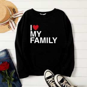 Woman Letter&heart Print Long-sleeve Pullover