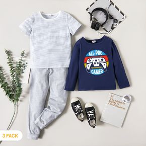 3-Pack Kids Game console Print Striped Tee Pants Set