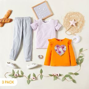 3-Pack Kids Graphic  Floral & heart Print & Striped Tee Pants Set