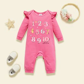 Baby Number&Letter Print  Long-sleeve Ruffled Jumpsuit
