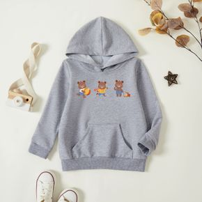Toddler Boy Graphic Bear Print Long-sleeve Hooded Pullover