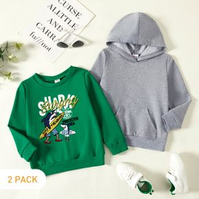 2-Pack Toddler Boy Graphic Shark Print  Long-sleeve Pullover&Hooded Pullover Set