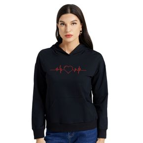 Woman Graphic Heart Print  Long-sleeve Hooded Pullover