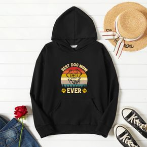 Woman Graphic Dog & Letter Print  Long-sleeve Hooded Pullover