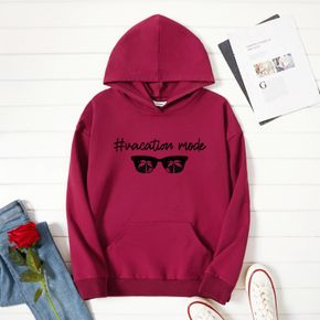 Woman Graphic Letter & Glasses  Print  Long-sleeve Hooded Pullover