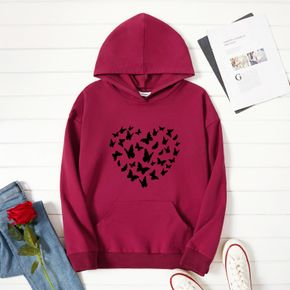 Woman Graphic Butterfly Print  Long-sleeve Hooded Pullover