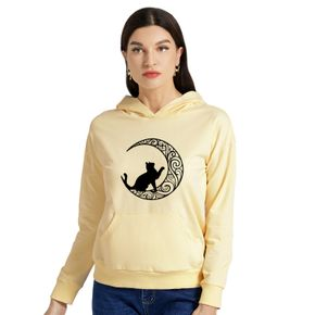 Woman Graphic Moon & Cat  Print Long-sleeve Hooded Pullover