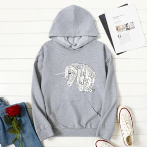 Woman Graphic Unicorn Print  Long-sleeve Hooded Pullover