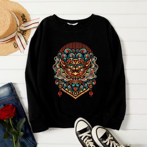 Woman Graphic Dragon Pattern Long-sleeve Pullover