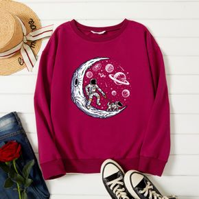 Woman Graphic Starry sky & milky way Print Long-sleeve Pullover