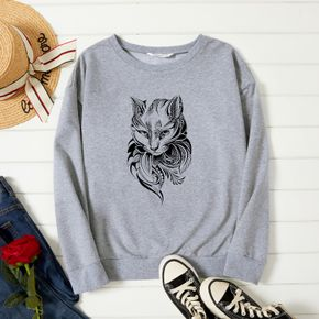 Woman Graphic Cat Print Long-sleeve Pullover