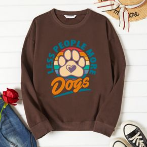 Woman Graphic Dog & Letter Print Long-sleeve Pullover