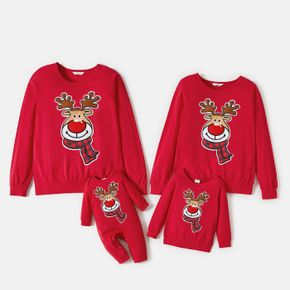 Christmas Cartoon Reindeer Embroidered Red Family Matching Long-sleeve Sweatshirts