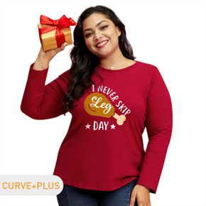 Women Plus Size Graphic Letter & drumstick Print Round Neck Long-sleeve Tee