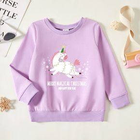 Christmas 2-Pack Toddler Girl Graphic Letter and Unicorn and Snowflake Print Long-sleeve Pullover
