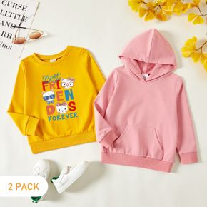 2-Pack Toddler Girl Graphic Letter and Animal Print Long-sleeve Pullover & Hooded Pullover Set