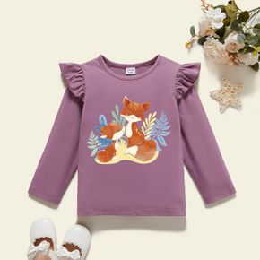 Toddler Girl Graphic Fox and Plant Print Ruffled Long-sleeve Tee