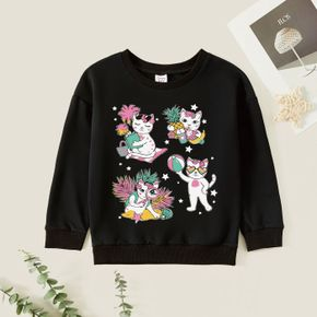 Kid Girl Graphic Cat and Stars Print Long-sleeve Pullover