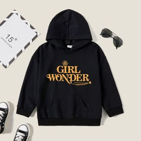 Kid Girl Graphic Letter and Star Print Long-sleeve Hooded Pullover