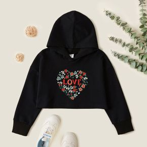Kid Girl Graphic Heart-shaped and  Floral and Letter Print Long-sleeve Hooded Pullover