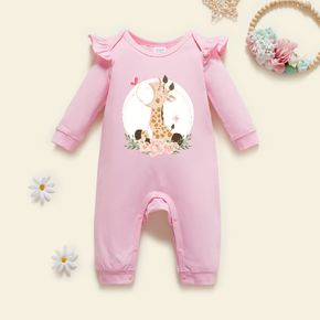 Baby Graphic Giraffe & Floral Print Long-sleeve Ruffled Jumpsuit