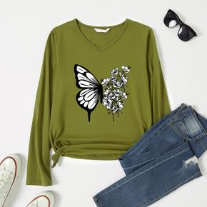 Woman Butterfly & Floral Print Long-sleeve V Neck Tee