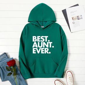 Women Graphic Letter Print Long-sleeve Hooded Pullover