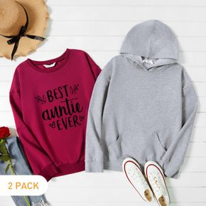 2-Pack Woman Letter & Heart Print Long-sleeve Pullover Set