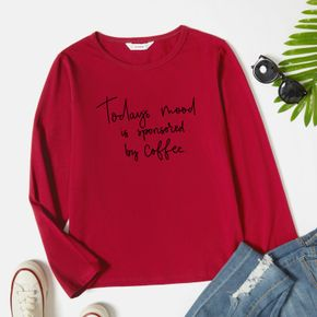 Women Graphic Letter Print Round-collar Long-sleeve Tee