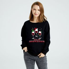 Christmas Women Graphics Wine and Snowy  and Letter Print Round Collar Long-sleeve Pullover