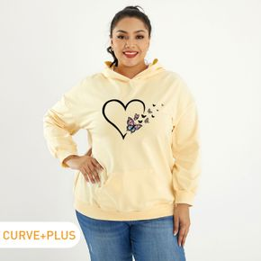 Women Plus Size Butterfly & Heart Print Round Neck Long-sleeve Hooded Pullover