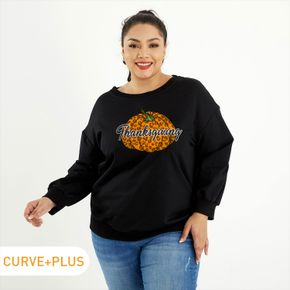 Thanksgiving Woman Plus Size Letter & Pumpkin Print  Round Neck Long-sleeve Pullover Pullover