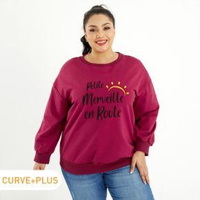 Women Plus Size Graphic Letter Print  Round-collar Long-sleeve Pullover