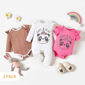 3-Pack Baby Girl Graphic Letter and Panda Print Striped Ruffled Romper Jumpsuit Set