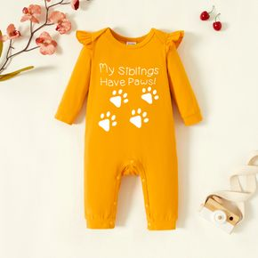 Baby Footstep & Letter Print Long-sleeve Ruffled Jumpsuit