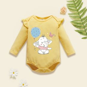 Baby Girl Graphic Elephant and Balloon and Butterfly Print Ruffled Long-sleeve Romper