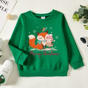 Christmas Toddler Graphic Snowflake and Bird and Fox Print Long-sleeve Pullover