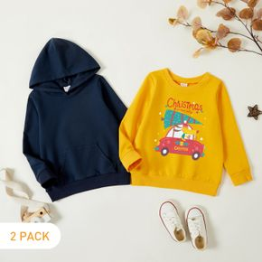 Christmas 2-Pack Toddler Boy Graphic Car and Dog and Christmas Tree Print Long-sleeve Pullover & Hooded Pullover Set