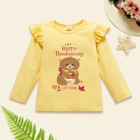 Thanksgiving Toddler Girl Graphic Bear and Letter Print Ruffled Long-sleeve Tee