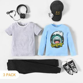 3-Pack Kid Boy Graphic Shark and Letter Print Long-sleeve Tee & Striped Short-sleeve Tee & Pants Set
