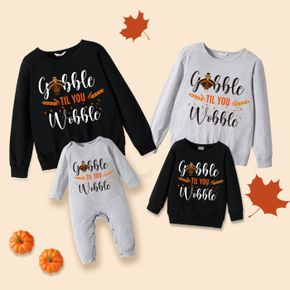 Thanksgiving Turkey and Letter Print 100% Cotton Family Matching Long-sleeve Sweatshirts