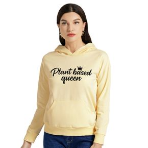Woman Letter Print Long-sleeve Hooded Pullover
