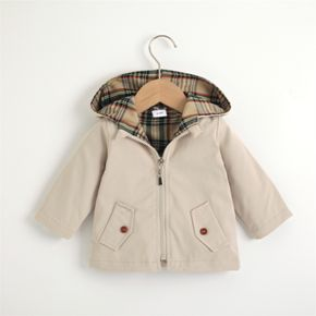 Toddler Girl/Boy 100% Cotton Plaid Lined Zipper Hooded Coat