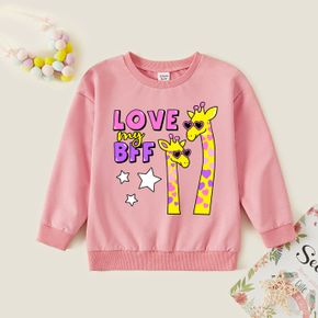 Kid Girl Graphic Giraffe and Letter and Stars Print Long-sleeve Pullover