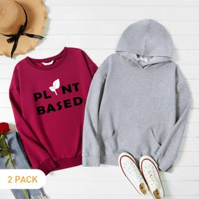 2-Pack Woman Letter & Plant Print Long-sleeve Pullover